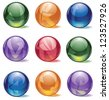 Glossy Spherical Icon Symbol Alphabet Set Letters J through R - stock photo