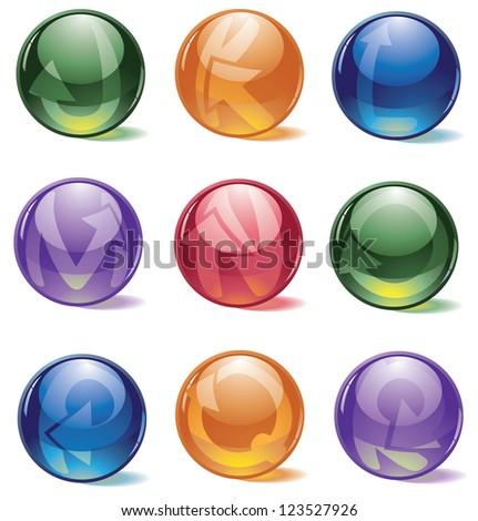 Glossy Spherical Icon Symbol Alphabet Set Letters J through R - stock vector