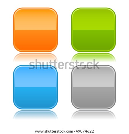 Glossy square rounded blank color buttons on white - stock vector
