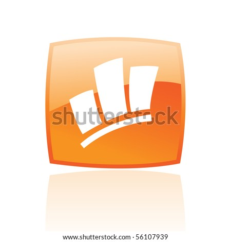 Glossy stats in orange button isolated on white - stock vector