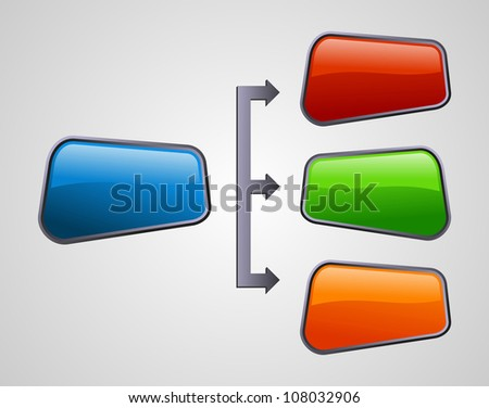 Glossy style social media diagram presentation structure. Vector file layered for easy manipulation and custom coloring. - stock vector