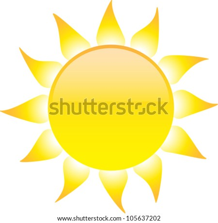 Glossy sun isolated on white background. Vector illustration - stock vector