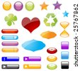 Glossy Symbols Stickers and Buttons - stock vector