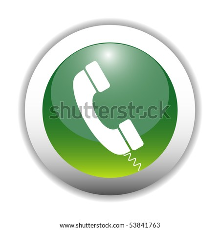Glossy Telephone Sign Button - stock vector