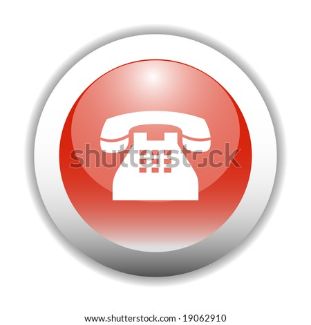 Glossy Telephone Sign Icon Button - stock vector