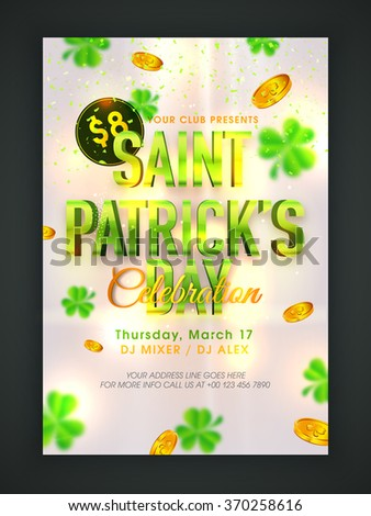 Glossy text Saint Patrick's Day on shamrock leaves and gold coins decorated background, can be used as pamphlet, banner or flyer design. - stock vector
