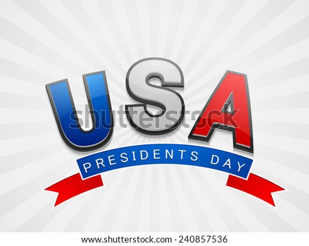 Glossy text United State American with ribbon for Presidents Day celebration on shiny background. - stock vector