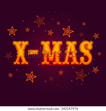 Glossy text X-Mas on stars decorated purple background for Merry Christmas celebration. - stock vector