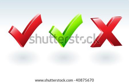 Glossy Tick & Cross Sign. Vector illustration - stock vector