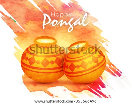 Glossy traditional mud pots full of rice on color splash background for South Indian Harvesting Festival, Happy Pongal celebration. - stock vector