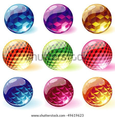 Glossy transparent spheres. Vector. - stock vector