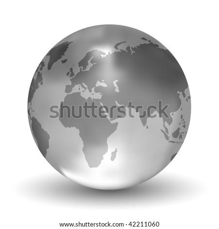 Glossy Vector Crystal Earth Globe - stock vector