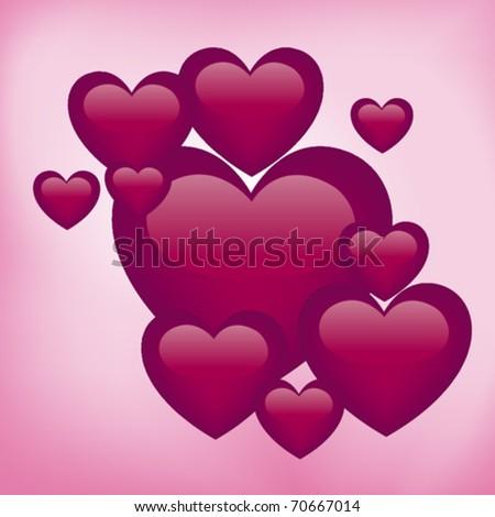 Glossy vector hearts - stock vector