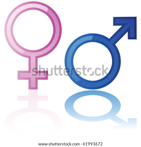 Glossy vector illustration of a male and a female symbol reflected over a white background