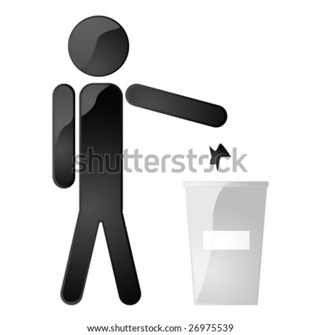 Glossy vector illustration of a man throwing garbage in a garbage can