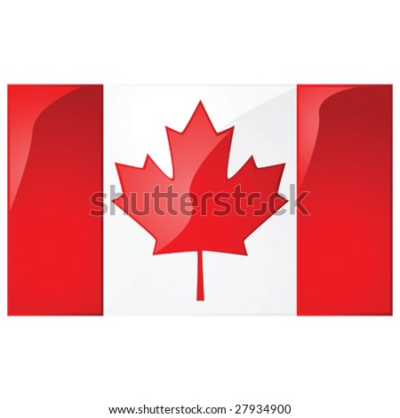 Glossy vector illustration of the flag of Canada - stock vector