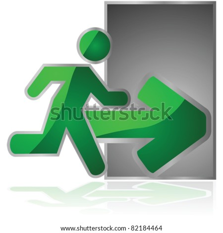 Glossy vector illustration showing an exit sign with a man running towards a door - stock vector