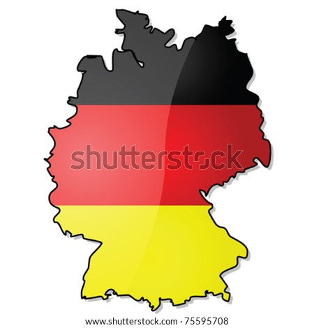 glossy vector illustration showing the map of germany with its flag over it eps file
