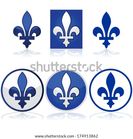 Glossy vector illustration showing the Quebec fleur-de-lys in blue and white