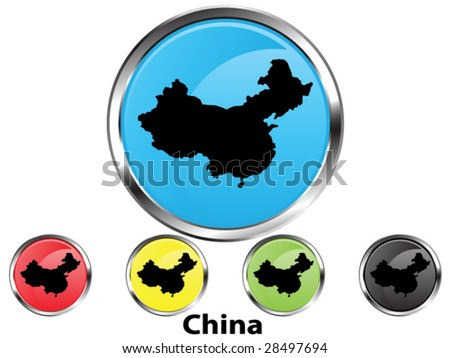 Glossy vector map button of China - stock vector