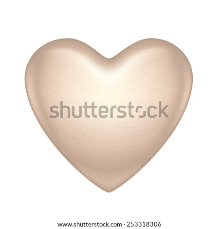 Glossy vector white chocolate heart bonbon. Good for Valentine' day design. - stock vector