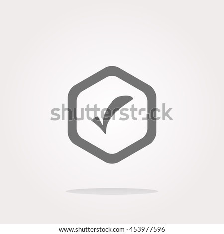 glossy web button with check mark sign, icon isolated on white . Vector illustration - stock vector