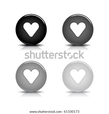 Glossy web 2.0 button with white heart symbol. Black and gray round shapes with shadow and reflection on white background - stock vector