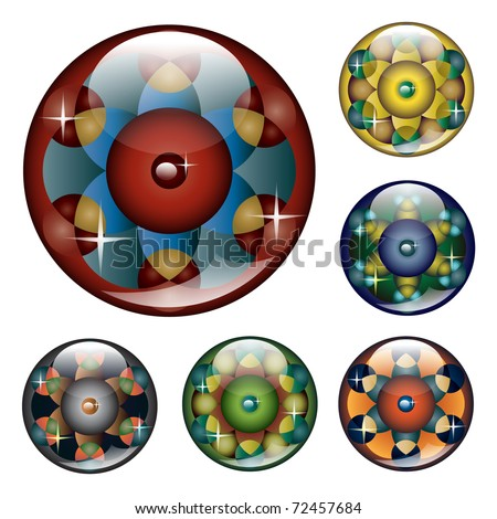 Glossy web buttons in a form of geometric crop circles - stock vector