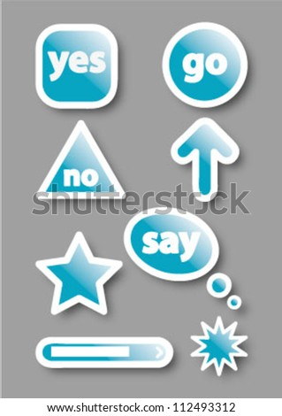 glossy web elements. Perfect for adding your own text or icons. Blends used to create drop shadow effect. - stock vector