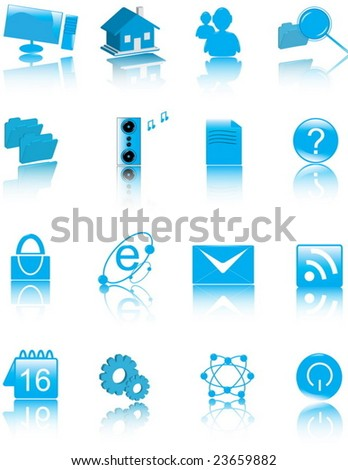 Glossy Web & multimedia computer icon set. Each icon is in an individual layer - stock vector