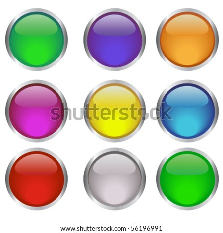 Glossy web round buttons in different colors - stock vector