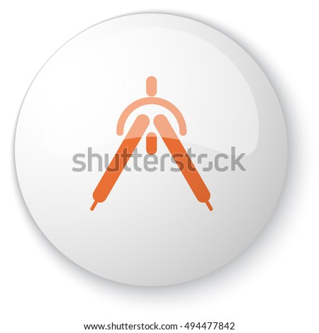 Glossy white web button with orange Drafting Compass icon on white background