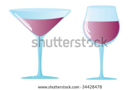 Glossy wineglass with beverage on white background