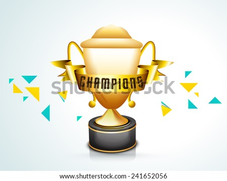Glossy winning trophy and golden ribbon with text Champions on sky blue background for Cricket. - stock vector
