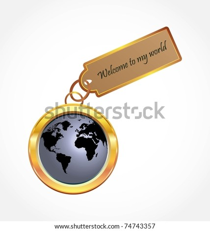 Glossy World Button - stock vector