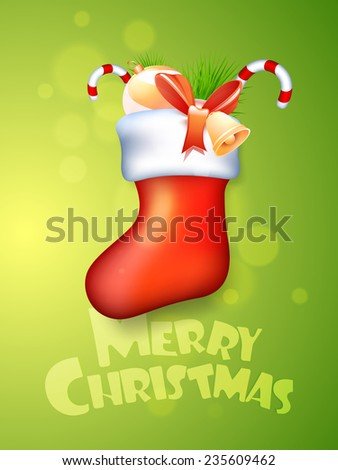 Glossy X-mas stocking with jingle bell, candy canes, decoration ball and fir tree on shiny green background for Merry Christmas celebrations. - stock vector