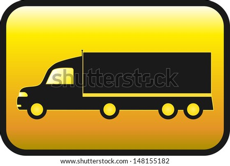 glossy yellow button with american truck  - stock vector