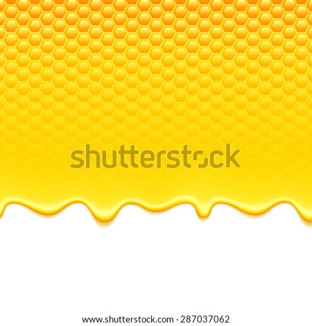 Glossy yellow pattern with honeycomb and sweet honey drips. Sweet background. - stock vector