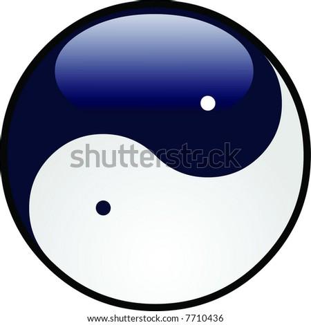 Glossy yin yang - stock vector