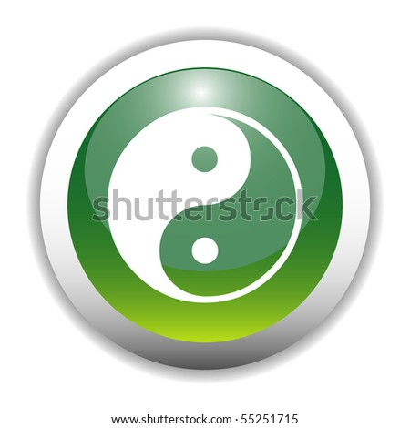 Glossy Yin Yang Sign Button - stock vector