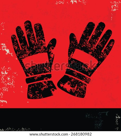 Glove,industry design on red background,grunge vector - stock vector