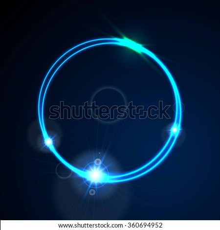 Glow blue neon bright ring shiny background. Energy effect logo vector design - stock vector
