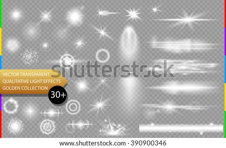 Glow isolated white transparent light effect set, lens flare, explosion, glitter, line, sun flash, spark and stars. Abstract special effect element design. Shine ray with lightning, sparkling round  - stock vector