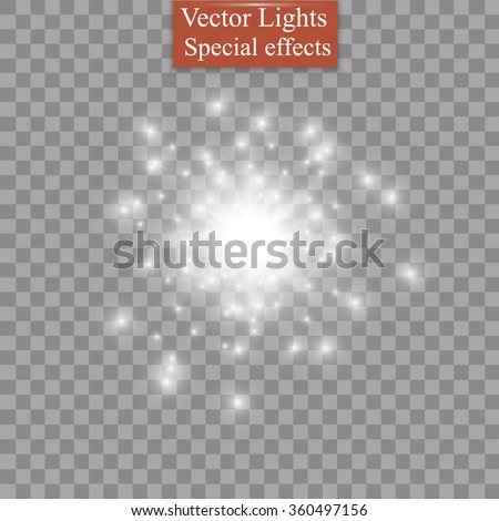 Glow light effect. Star burst with sparkles. Vector illustration - stock vector
