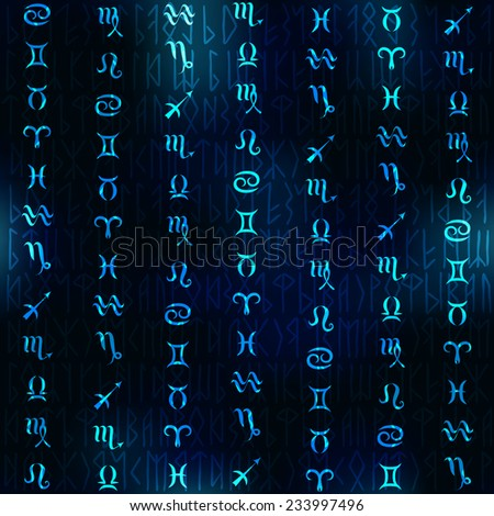 Glow zodiac symbols on navy blue blur background.  Seamless pattern. - stock vector