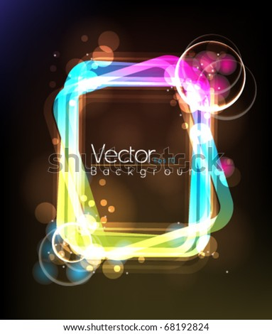 Glowing abstract frame - stock vector