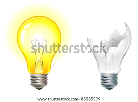 glowing and broken down light bulbs vector illustration - stock vector