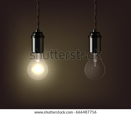 Glowing and switched off lamp isolated on brown background. Vector illustration.