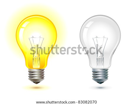 Glowing And Turned Off Electric Light Bulb, Vector Illustration.