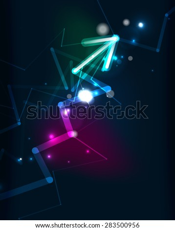 Glowing arrow and blending colors in dark space. Vector illustration. Abstract background - stock vector
